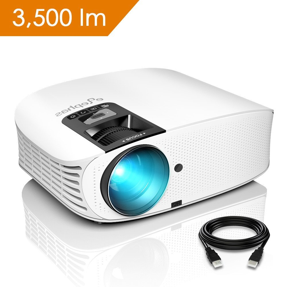 ELEPHAS 1080P 200 LCD Video Projector Support HDMI VGA AV USB Micro SD Ideal for Home Theater outdoor projector for Entertainment Party and Games, White