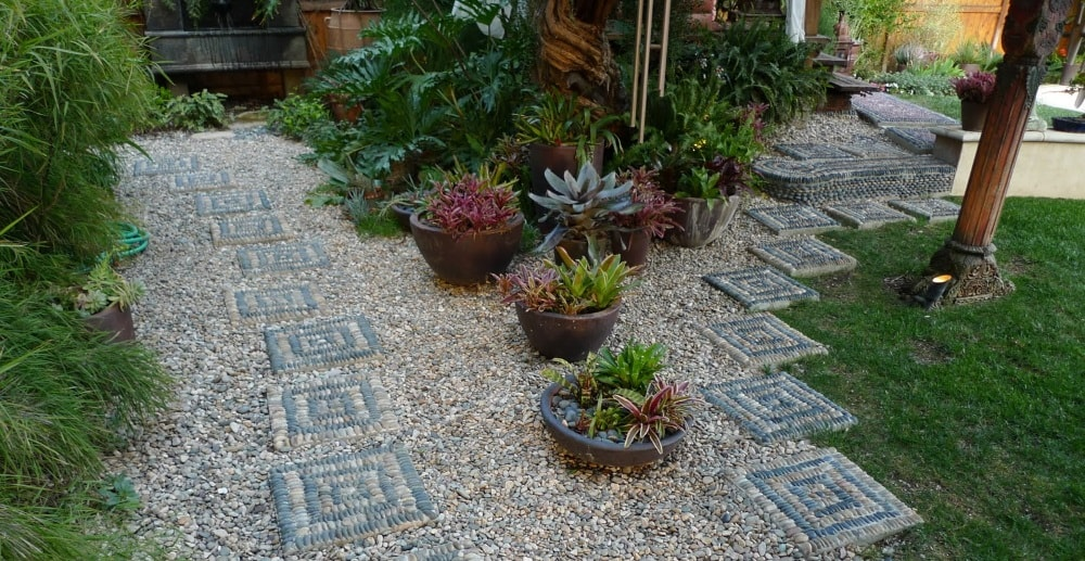 pebble mosaics walkway yard